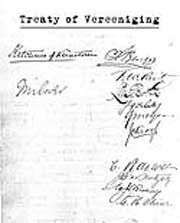 Treaty of Peace Of Vereeniging  signed in 1902 and ended hostilities