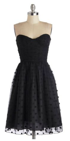 Modcloth - short black sweetheart cut bridesmaid dress with polka dot overlay