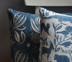 Winter Flower Cushion in Blue Winter Wallpaper, Winter Flowers, Nursery Design, Lampshades, Deep Blue, Kids Bedroom, Floral Design, Cushions, Textiles