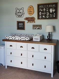 Ikea Hack| Hemnes Dresser- white stain Transformed with bronze pulls, leather pulls and wood stained top.