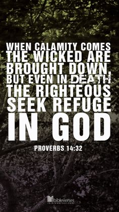 When calamity comes, the wicked are brought down, but even in death the righteous seek refuge in God. –Proverbs 14:32