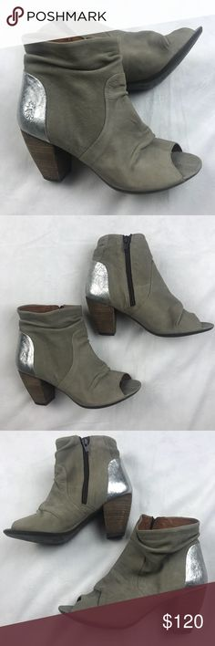 """NWOB FLY LONDON Open Toe Slouch Ankle Boots FLY LONDON Open Toe Slouch Ankle Boots  Block heels with zip closure on side. Slouchy form with open toe. Silver heel accent with crackle detailing with logo embossing. 3"""" heel. Fly London Shoes Ankle Boots & Booties"""