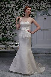 Pallas Athena wedding dress/gown- ivory mermaid style wedding dress with lace bodice, sweetheart neckline, and one shoulder. For the Bride Boutique Ft. Myers, Florida