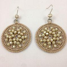 Crochet Earrings Pattern, Bead Crochet, Crochet Necklace, Wire Jewelry, Jewelery, Handmade Jewelry, Dorset Buttons, Tatting Patterns, Crochet Designs