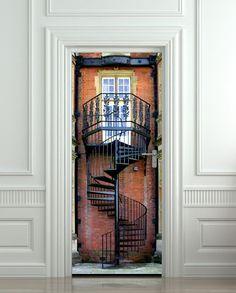 Door STICKER stair flight of stairs mural decole film by Wallnit, $39.99