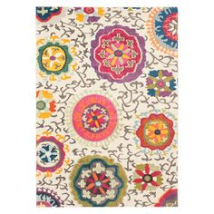 Anchor your living room seating group or define space in the den with this loomed rug, featuring a suzani-inspired floral motif for eye-catching appeal.... Polypropylene 9x12 $392.95