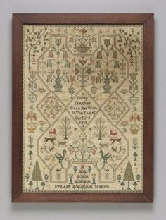Sampler embroidered with wave border enclosing a cross-stitched lattice with animals, peop. Sampler embroidered with wave border enclosing a cross-stitched lattice with animals, peop. Cross Stitch Sampler Patterns, Embroidery Sampler, Cross Stitch Borders, Cross Stitch Samplers, Cross Stitching, Cross Stitch Embroidery, Embroidery Ideas, Primitive Crafts, Vintage Crafts