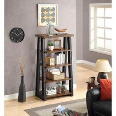 Storage Display Tower Brown 5 Shelf Book CD Magazine Holder
