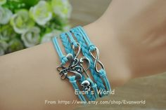 Butterfly Musical notes Infinity Bracelet Ancient by Evanworld, $4.99 Beautiful handmade bracelet, a gift.