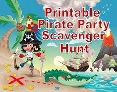 This printable pirate party treasure hunt comes with everything you need for a fun pirate treasure hunt - clues,puzzles, riddles, & games. Pirate Kids, Pirate Games, Pirate Day, Pirate Birthday, Pirate Theme, Treasure Hunt For Kids, Treasure Hunt Clues, Pirate Treasure, Pirate Scavenger Hunts