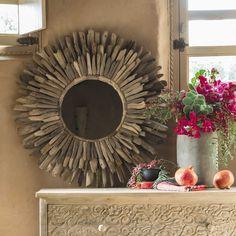 Spiegel rund aus Treibholz D 74 cm KARUKERA