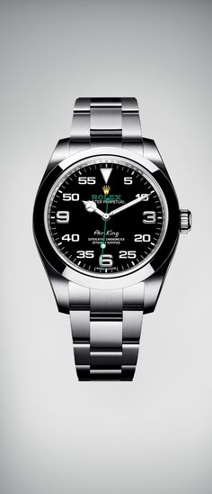 At Baselworld 2016, Rolex presents a brand new version of the Air-King in a 40 mm case in 904L steel. It features a distinctive black dial with a combination of large numerals marking the hours and a prominent minute scale for navigational time reading. The dial bears the name Air-King in the same lettering that was designed specifically for the model in the 1950s, together with the Rolex logo in green and yellow. #RolexOfficial #Baselworld2016