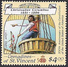 St. Vincent Grenadines Scott #602 (29 July 1988) Rodrigo de Triana (born 1469 in Seville, Spain was the sailor and believed to be the first European since the Vikings known to have seen America.  Rodrigo de Tirana was on Christopher Columbus' ship La Pinta when he spotted land about 2:00 on the morning of 12 October 1492. He immediately alerted the rest of the crew with a shout Tierra! Tierra! (Land! Land!).