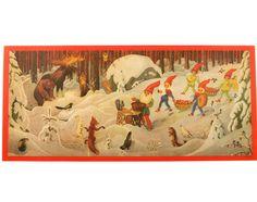 Väggfriser i papper JUL från - Bloomsbury Barn Bloomsbury, Gnomes, Troll, Vintage World Maps, Beautiful Places, Barn, Retro, Illustration, Painting