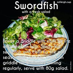 Swordfish #CWP #step2 Cambridge Weight Plan, Foods To Eat, Diet Recipes, Fries, Healthy Eating, Salad, Stuffed Peppers, Chicken, Cooking