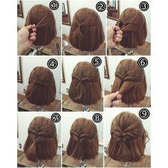 Half Up Hairstyle Tutorials for Short Hair, Hacks, Tutorials | DIY ...