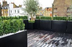 Dachterrasse Bespannung-Blumentöpfe Holz belag Sichtschutz-Idee