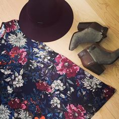 A hat adds a certain something to our Fall Fantasia Swing Dress.