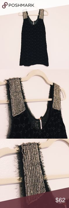 Free People Velvet + Sequin Dress Gorgeous black velvet cocktail dress with intricate beading on shoulders and back. Side zipper. Hits above the knee. Only worn twice. Size 4. Free People Dresses Mini