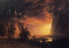 Sunset in the Yosemite Valley - Bierstadt, Albert (American, 1830 - Fine Art Reproductions, Oil Painting Reproductions - Art for Sale at Bohemain Fine Art Albert Bierstadt Paintings, Hudson River School, Valley California, Stockton California, Yosemite Valley, Sunset Beach, Mountain Landscape, Landscape Paintings, Landscapes