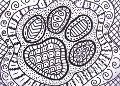 OOAK pawprint zentangle ACEO dog paw drawing cat paw by PeachPod, $8.00