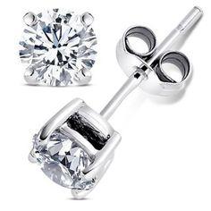 2.00 Carat Cubic Zirconia Earrings. Set in 925 Sterling Silver Nickel Free Settings. 6.50mm Each Round Stone. 1.00 Carat Each. Nickel Free: Designer Inspired