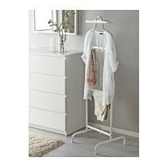 IKEA - MULIG, Valet stand, white, , Three hooks for belts, ties, scarves or handbags and a removable tray on top for your watch, jewelry and other small things.Can be mounted at two different heights.