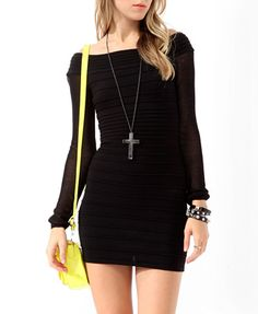 Mesh Sleeve Bodycon Dress (Black). Forever 21. $32.80