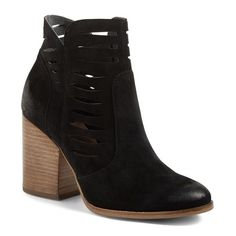 Women's Seychelles Let's Go Crazy Cutout Zip Bootie (2.340 ARS) ❤ liked on Polyvore featuring shoes, boots, ankle booties, black suede, black boots, suede ankle boots, black suede bootie, black bootie boots and block heel booties