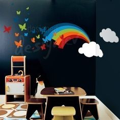 Rainbow Butterflies 8ft wide (Large) - Removable Graphic Wall Decal - dd1018