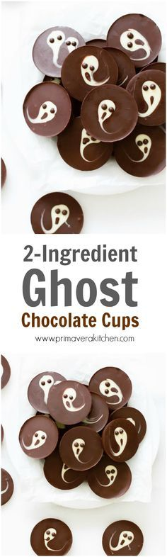 2-Ingredient Ghost Chocolate Cups - Easy 2-ingredient Ghost Chocolate Cups are the perfect and fun halloween treat that is done in less than 15 minutes and your kids can help you to make them!