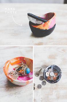 DIY marbled pots, using oven bake clay and nail polish - I feel some DIY christmas presents coming on...