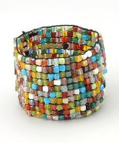 This Mosaic Square Beaded Stretch Bracelet is perfect! #zulilyfinds