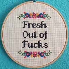 Pattern: Cross Stitch Fresh Out of Fcks di StitchBitchDarling