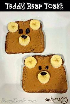 BREAKFAST TEDDY BEAR TOAST - with Peanut Butter, Banana & Raisin or Dried Michigan Tart Cherries.