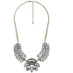 Charlotte Russe Gold Fanned Rhinestone Statement Necklace by Charlotte... ($8.99) ❤ liked on Polyvore featuring jewelry, necklaces, gold, chain collar necklace, collar statement necklace, yellow gold necklace, collar necklace and bib statement necklace