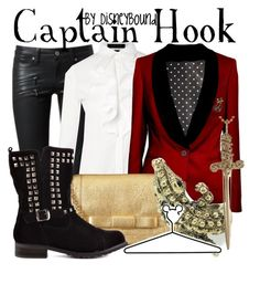 Captain Hook by leslieakay on Polyvore featuring polyvore, fashion, style, Lauren Ralph Lauren, Paige Denim, Promise Shoes, Orla Kiely, Jennifer Fisher, Disney, clothing and disney