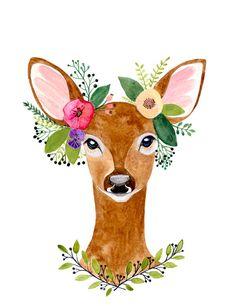Cerf imprimé andouiller de cerf Decor bois Art par zuhalkanar