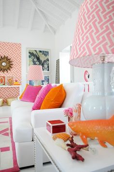 Bright colour color chic hollywood regency modern white living lounge room pink flamingo starburst sunburst mirror white gloss furniture sideboard pink white regency wallpaper