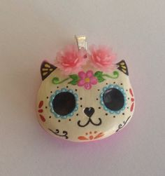 Catrina Cat handmade charm.  Day of the dead catrina por LaCasaRoja