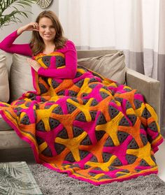 Boomerang Throw. Brighten your room's mood with a throw that really pops with color: FREE crochet pattern