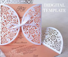 Wedding invitation template for laser cutting for paper