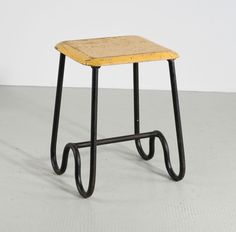 Anonymous; Enameled Tubular Metal and Lacquered Wood Stool, c1950.