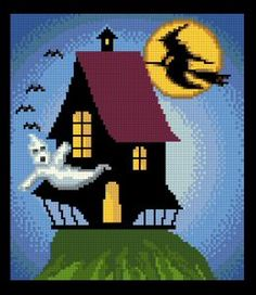 Haunted House - cross stitch pattern designed by Marv Schier. Category: Halloween.