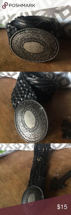 Vintage Hippie Boho Black Leather Wide Belt This black leather braided belt has antique nickel hardware accents and buckle. It can fit all the way up to a size large. Accessories Belts