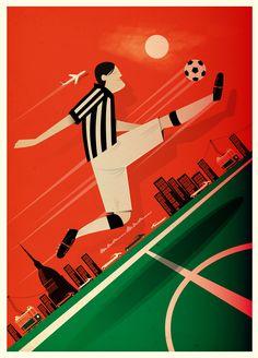 Postage Stamp Juventus F.C. - lucio schiavon illustrator