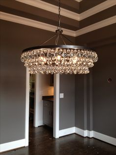 Sherwin Williams Gauntlet Gray with Pure White Trim. Love the chandelier and the gray walls Room Colors, Wall Colors, Paint Colors, Grey Walls White Trim, Gray Trim, Dark Walls, Behr Exterior Paint, South Shore Decorating, Grey Paint