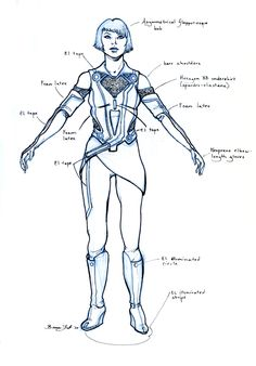 """Concept art design for Quorra from """"Tron: Legacy"""" (2010)."""