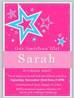 American Girl Doll Birthday Party Invitation Digital by 2SweetTeas