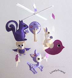 "Baby Crib Mobile - Baby Mobile - Purple Decorative Adorable Mobile - ""Purple girls love Purple Jungle"" (Pick your color)"